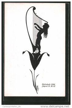 Künstler-AK Diefenbach: Mädchen spielt eine Harfe, Göttl. Jugend II. Bl. 37