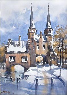 Oostpoort in Winter - Delft, Holland Thomas W Schaller Watercolor Dec. 2014