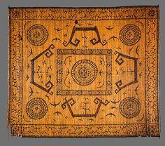 Paminggir people Nobleman's mat of honour [lampit] 19th century Kenali district Lampung south Sumatra Indonesia split rattan, cotton twining, burnt pokerwork