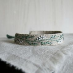 Hand Embroidered Bracelet  Sage Green Vine with White by Sidereal