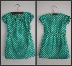 green and teal dress from Anthropologie knock off pattern for little girls
