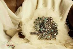 sparkling teal tones by bridal brooch bouquets .co.uk