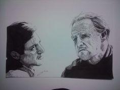 Pacino e Brando, Michael e Vito Corleone, nanquim