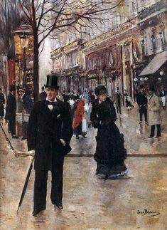 BЙRAUD, Jean French painter (b. 1849, St. Petersburg, d. 1935, Paris) On the Boulevard 1895 Oil on canvas, 35 x 25 cm Musйe Carnavalet, Paris