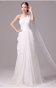 Greek Goddess Wedding Dress | Elegant Greek Goddess Chiffon Beaded One Shoulder Wedding Dress