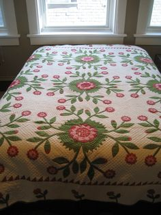 """Dated 1846 made by Grandmother Haines of Ohio and presented to her grand daughter by her daughter in 1931. 91"""" X 94""""."""