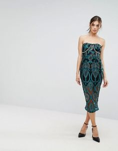 PrettyLittleThing Premium Embroidered Bandeau Midi Dress at ASOS. Shop this season's must haves with multiple delivery and return options (Ts&Cs apply). Latest Fashion Clothes, Latest Fashion Trends, Fashion Online, Strapless Dress Formal, Formal Dresses, Asos Online Shopping, Women Wear, My Style, Beauty