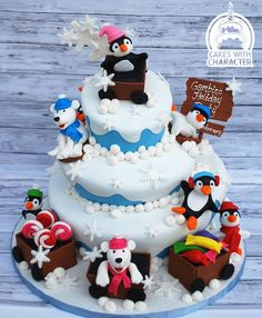 Cake I made for Cohens Childrens Hospital Annual Holiday party for the sick children! Christmas Birthday Cake, Birthday Cake Girls, 4th Birthday, Birthday Parties, Christmas Cakes, Birthday Ideas, Christmas Ideas, Penguin Cakes, Bear Cakes