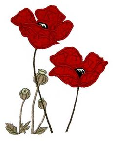 """This free machine embroidery applique design features beautiful poppies and poppy seeds. Size: 4.96"""" x 6.54"""" Formats: ART, SHV, HUS, JEF, PXF, SEW, PES, VI"""