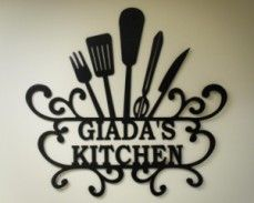 """Giada's Kitchen"" - Personalized Kitchen Wall Art - kitchen wall decor - great decorating idea for your kitchen. Kitchen Metal Wall Art, Metal Wall Art Decor, Kitchen Art, Metal Art, Kitchen Decor, Kitchen Walls, Dining Decor, Country Kitchen, Kitchen Ideas"