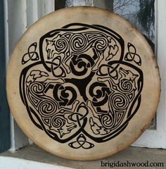 Celtic Wolf Bodhran Drum Hand painted by BrightArrow on Etsy