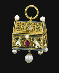 PENDANT IN THE FORM OF A BETROTHAL CASKET. Inscribed in the lid: QVOS DEVS CONIVNXIT HOMO NE SEPARET and monogrammed: TMHC and MVGIE partially enamelled gold set with rubies, emeralds and later pearls. German, late 16th/ early 17th century.