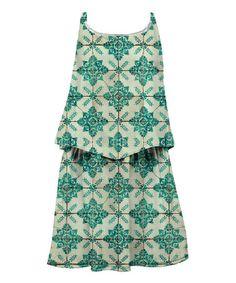 Turquoise Tile Sublimation Layered Dress