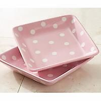 Pampered Chef Help Whip Cancer pink & White polka dot square plates. Avail. October 2011 only. www.pamperedchef.biz/giftsbystephanie