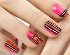 Red and Pink Tribal Nail Art Design