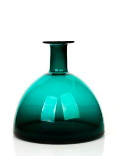 Per Lutken, Holmegaard : Green Glass Vase