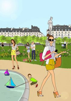 Do it in Paris - Absolute summer Illustration Parisienne, Paris Illustration, Illustration Sketches, Graphic Illustrations, Funny Fashion, Fashion Art, City Mag, Megan Hess, Fishing