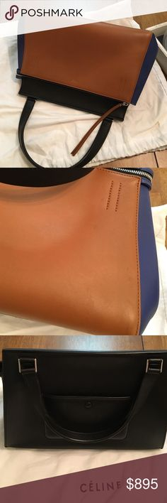 "Authentic Celine Handbag Authentic Celine ""Perfect Edge "" Handbag 3 colors , Carmel , cobalt (on side ) and black . One strap , 2 inside compartments , and inside zip compartment as well , Also back pocket w a snap , and bag has feet on the bottom as  well . This is lambskin so there are some scratches  throughout; and some spots as shown in pic , but overall good condition . Comes w Celine Dustbag , and Celine card . No Trades ! Celine Bags Shoulder Bags"