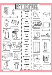 My Furniture - ESL worksheet by English For Beginners, English Lessons For Kids, English Fun, Learn English, English Resources, English Activities, Vocabulary Activities, English Vocabulary, English Grammar