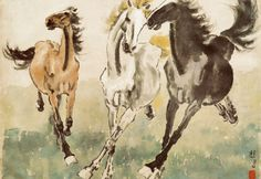 """Three Galloping Horses"" by Xu Beihong (徐悲鴻), old Chinese master in horse paintings"