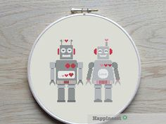 cross stitch pattern robot robot LOVE Valentine PDF par Happinesst