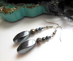 Retro Silver Gray Hematite Bronze Rose Flower Bead Dangle Earrings Jewelry