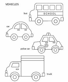 Free printable car, police car, school bus, and truck - great for quiet book inspiration Quiet Book Templates, Quiet Book Patterns, Felt Patterns, Templates Printable Free, Applique Patterns, Free Printable Coloring Pages, Printables, Cars Coloring Pages, Transportation Theme