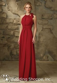 Comfortable long chiffon bridesmaid dress with sophisticated neckline.