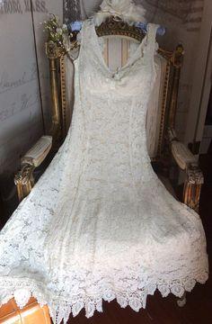 Boho Lace Ivory vintage appliqué wedding by ElenaCollectionUSA