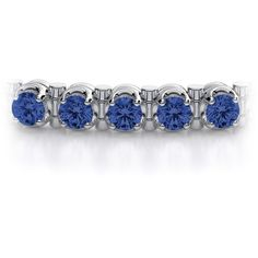 5.00ctw Blue Sapphire Tennis Bracelet in 14k White Gold (14,400 BAM) ❤ liked on Polyvore featuring jewelry, bracelets, blue sapphire jewelry, gemstone bangle, sparkle jewelry, white gold jewellery and gem jewelry