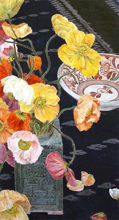 Poppies, woodblock painting by Cressida Campbell