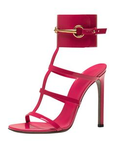 Patent Ankle-Wrap Cage T-Strap Sandal, Pink by Gucci at Bergdorf Goodman.