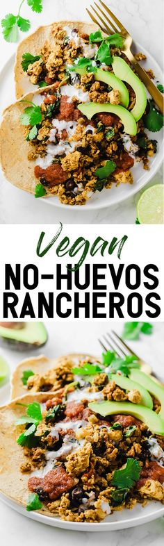 This protein-packed Vegan No-Huevos Rancheros dish is the perfect savory meal to serve for brunch, lunch, or dinner! Top with zesty ranchero sauce and tangy dairy-free sour cream for the ultimate plate. #summerveganmeals #easyveganrecipes #deliciousvegandinnerideas #emilieeats