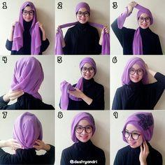 Simple turban tutorial using long shawl