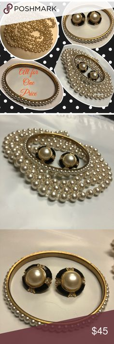 """Knotted Pearls, Signed Earrings, Pearl Bangle Vintage All for 1 $! This is a beautiful string of vintage, faux pearls. 50"""". Wear them single, knotted, Flapper style or doubled! They are knotted between each pearl.  Signed Roman, Pierce Post Earrings, w/Faux Pearl, Black Enamel and Rhinestones. Gold Tone Bangle, Surrounded by Pearls. You can wear any color with this set of Jewels!  Jackie O said, """"pearls are always appropriate."""" Vintage Jewelry"""