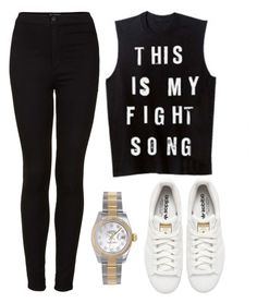"""""""Untitled #800"""" by greciavalentino ❤ liked on Polyvore featuring adidas Originals, Topshop and Rolex"""