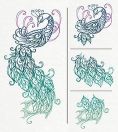 "762810_Preening Peacock (Split) design (UTZ1631) from UrbanThreads.com (44,226 stitches)5.55""w x 5.87""h"