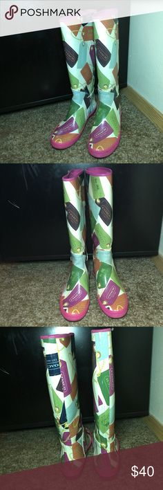 COACH RAIN BOOTS Very nice COACH rain boots.  Size 6.  Fair condition- has some cracks on both boots see pics for details Coach Shoes Winter & Rain Boots