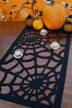 How To Make A Spiderweb Table Runner For Halloween | Shelterness
