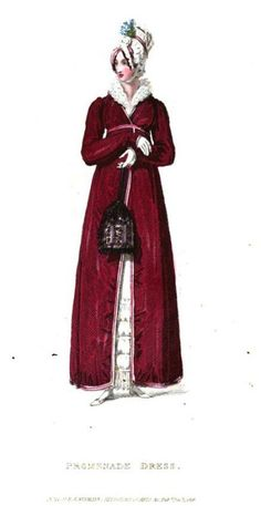 Ackermann's Repository, Promenade Dress, December 1816.  Oh, what a glorious, glorious outfit!  I would be honored to welcome winter in a frock as pretty as this one!
