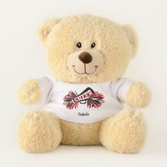 Black Red and White Cheerleader Teddy Bear - black and white gifts unique special b&w style
