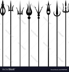 Tridents set isolated on a white background vector image on VectorStock Trishul Tattoo Designs, Trident, Adobe Illustrator, Sword, Vector Free, Pdf, Memes, Illustration, Tatoo