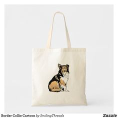Shop Border Collie Cartoon Tote Bag created by SmilingThreads. Collie Dog, Border Collie, Create Your Own Card, Cartoon Dog, Budget Fashion, Holiday Photos, Poster Prints, Reusable Tote Bags, Puppies