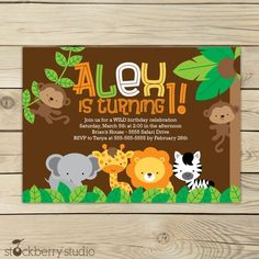 Safari Jungle Birthday Invitation Printable