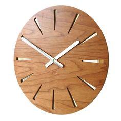 Roco Verre Real Wood Veneer Wooden Mirror clocks In Cherry, Black or Walnut