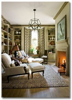 a small library, perfect for snuggling: Break down what makes this space so awesome, so you can ditto a space like this in your own home! via interior designer @fieldstonehill