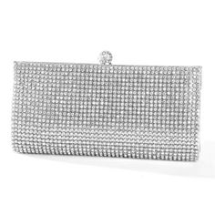 2b25786f517eb Our wholesale crystal evening bag has glamorous bezel set crystals & silver  faux leather. This red carpet wedding purse has a sleek frame & jewel clasp.