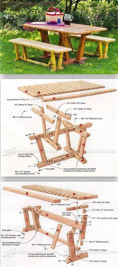 Table and Benches - Outdoor Furniture Plans & Projects   WoodArchivist.com