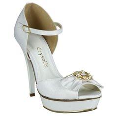 Peep Toe Crysalis Meia-Pata Branco #Noivas #Casamento #Sapatos #Love #Shoes #Trends #Style #Fashion