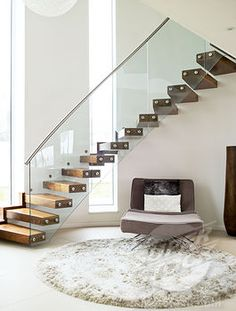 "#modern #staircase #wood #glassbanister: kind of awesome and less ""hard"" than metal railing. ??"